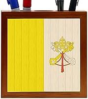 Rikki Knight Holy See Flag on Distressed Wood Design 5-Inch Wooden Tile Pen Holder (RK-PH8724) [並行輸入品]