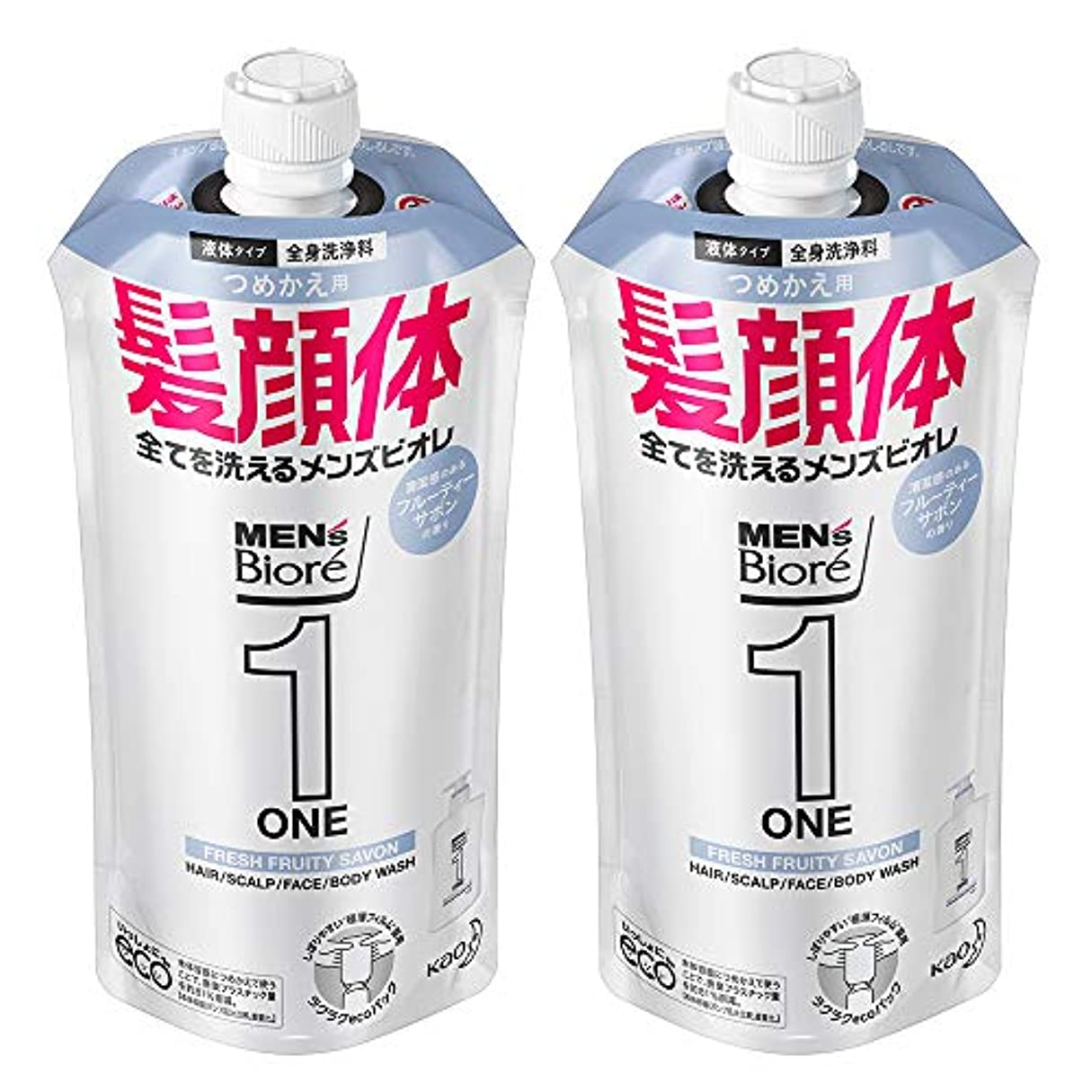 スーパーマーケット合体案件【まとめ買い】メンズビオレ ONE オールインワン全身洗浄料 フルーティーサボンの香り つめかえ用 340ml×2個
