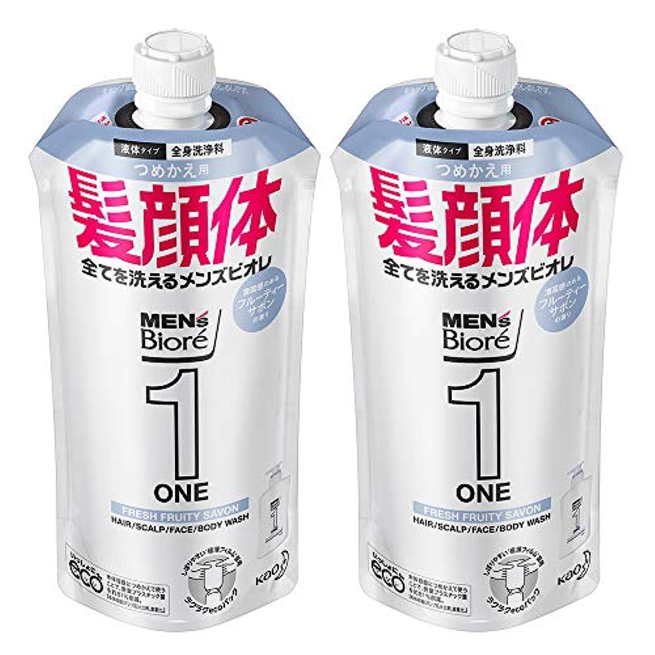 み論理的切り離す【まとめ買い】メンズビオレ ONE オールインワン全身洗浄料 フルーティーサボンの香り つめかえ用 340ml×2個