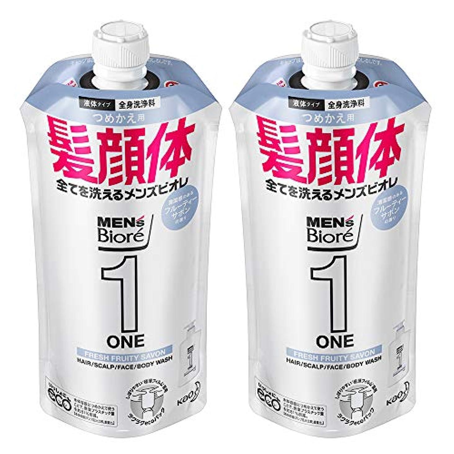 ながら知る落ち着いて【まとめ買い】メンズビオレ ONE オールインワン全身洗浄料 フルーティーサボンの香り つめかえ用 340ml×2個