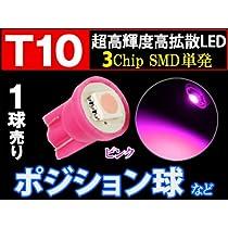 T10 3chip SMD 単発バルブ【桃】