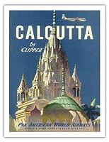 クリッパーによってカルカッタインド - パンアメリカン航空 - Pareshnathのジャイナ寺院 - ビンテージな航空会社のポスター c.1951 - アートポスター - 51cm x 66cm
