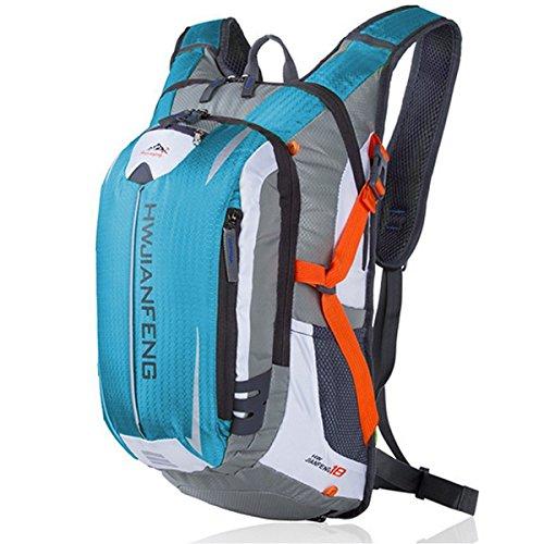 サイクリングバックパック サイクルバッグ リュックサック 登山用 かばん 超軽量 防水 自転車 旅行用 バックパック アウトドアバッグ 大容量 リュック ヘルメット収納ネット付き (ブルー)