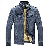 Zicac ジャケット アウターウェア コート 暖か裏起毛 長袖 PUレザー ビジネスジャケット 4色 ファッション メンズ・ボーイズジャケット (L, デニムブルー)