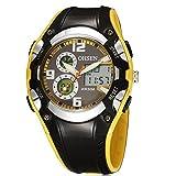 OHSEN 腕時計 キッズ スポーツ アナデジ表示 LCDバックライト 日付曜日 ストップウォッチ アラーム 30M防水 ブラック イエロー