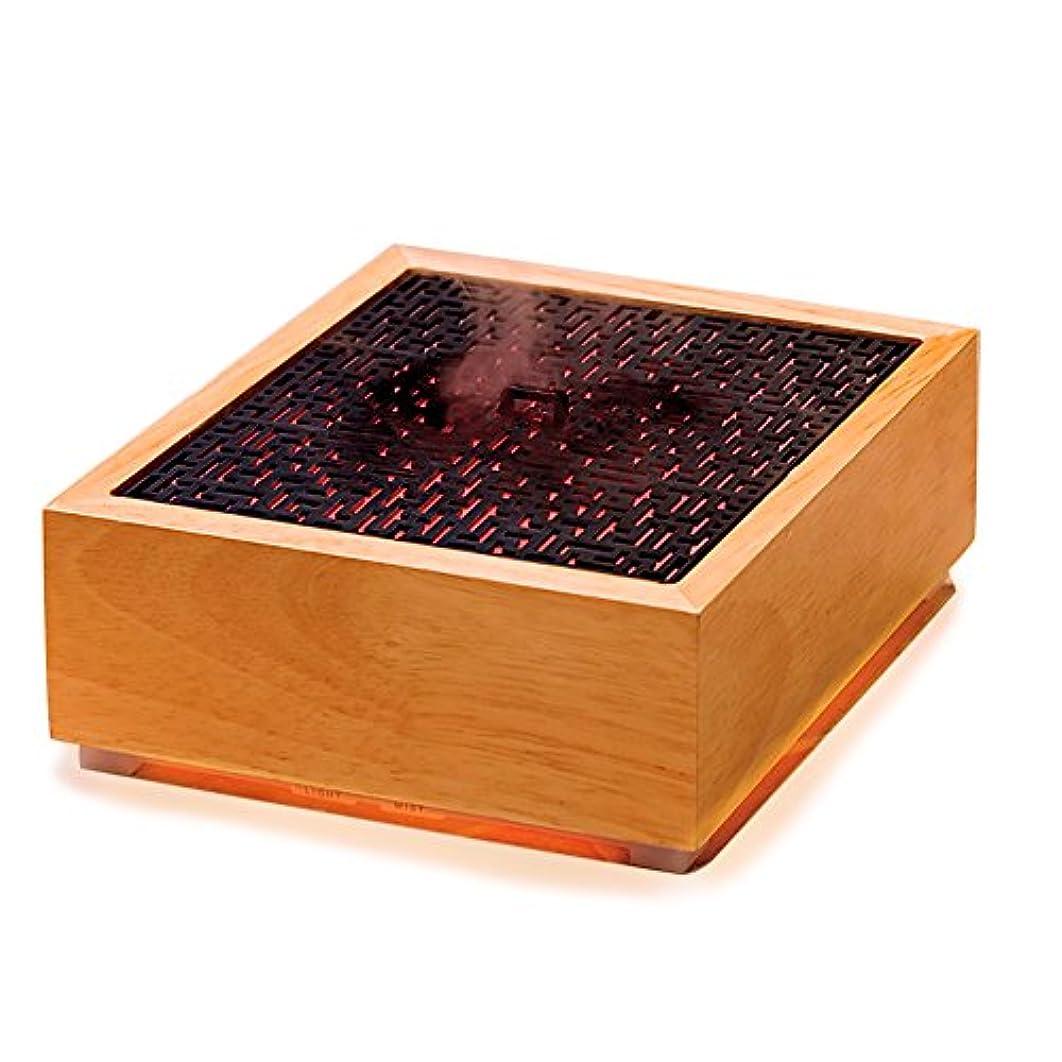 温室第五容赦ない香炉の形 透かし彫り設計 木の質感 200ml容量 ミニサイズアロマディフューザー 7色自動変化LEDライトエッセンシャルオイルディフューザーミニ加湿器