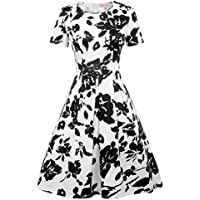 Belle Poque Vintage 1960s Short Sleeve Crew Neck Floral Pattern A-Line Swing Dress BP404