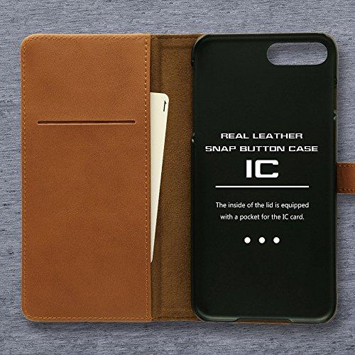 レイ・アウト iPhone7 Plus ケース 手帳型 本革 スナップボタン(カード収納×3) ブラック RT-P13RLC2/B