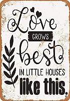 Shimaier 壁の装飾 メタルサイン ウォールアート - Love Grows Best in Little Houses Like This 縦30×横40cm ブリキ看板 店舗装飾 壁面ディスプレー おしゃれ 雑貨 通販 アメリカン ガレージ