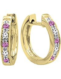 10K Yellow Gold Round Pink Sapphire & White Diamond Ladies Huggie Hoop Earrings