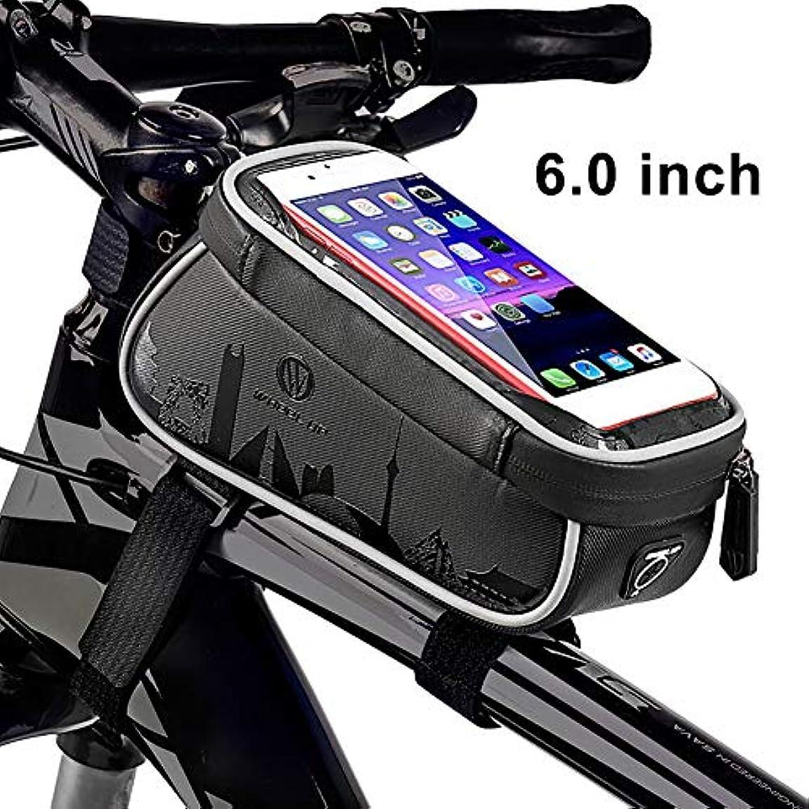 多様な熟した店主hAohAnwuyg 自転車トップチューブバッグ ホイールアップ自転車 フロントフレームトップチューブバッグ 6インチ タッチスクリーン 携帯電話ポケットホルダー - ブラック