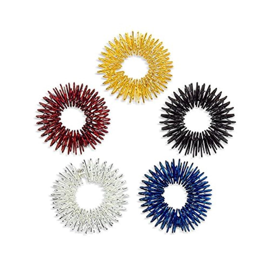 Healifty 10pcs指圧マッサージリング子供のための指の循環リング十代の若者たち大人(金/銀/黒/青/赤)