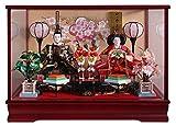 雛人形 ケース飾り ひな人形 ワイン塗ケース 桃の花バック親王飾り W53×D32×H37.5㎝ 2726-A