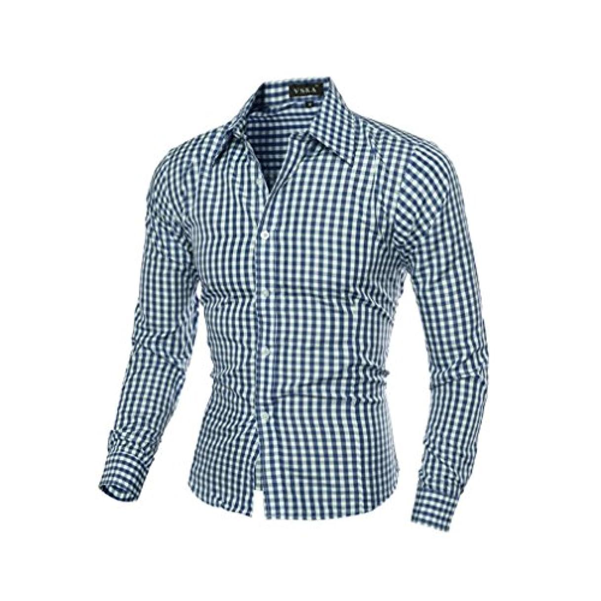 飾り羽インスタンス船形Honghu メンズ シャツ 長袖 6色 スリム チェック柄 グリーン M 1PC