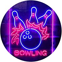 Bowling Game Room Dual Color LED看板 ネオンプレート サイン 標識 青色 + 赤色 400 x 600mm st6s46-i3291-br
