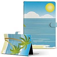 igcase d-01J dtab Compact Huawei ファーウェイ タブレット 手帳型 タブレットケース タブレットカバー カバー レザー ケース 手帳タイプ フリップ ダイアリー 二つ折り 直接貼り付けタイプ 001427 その他 海 やしの木 太陽