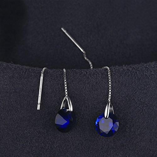 JewelryPalace クラシック 5.6ct ラウンド 人工 サファイア スレーター ピアス スターリング シルバー925 イヤリング