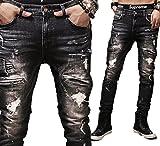 (プチプライム) Petit Prime メンズ ダメージジーンズ バイカー 綿 黒 スリムフィット ヴィンテージ風 ユーズド 加工デニム 人気 (L, ブラック)