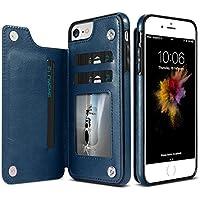 jieming FLOVEME For iPhone 8&7カードケース&ホルダー付き保護ケースクレイジーホーステクスチャー水平フリップ本革 (サイズ : Ip8f0081d)