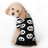 スピナス- ペット 犬 猫 服 コスプレ 衣装 かわいくチョイ悪に! ニット ドッグウェア ドクロ 柄 ボーダー 白 黒 犬服 着ぐるみ ペット服 ハロウィン (XS)