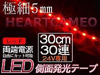 高輝度側面発光♪両側配線LEDテープ30cm24V/ 赤 /防水/カット可/黒ベース/左右2本セット
