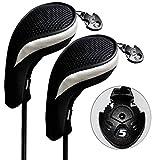 Andux ゴルフ ハイブリッド クラブヘッドカバー 交換可能な番号タグ付き 2 個セット (ブラック/シルバー)