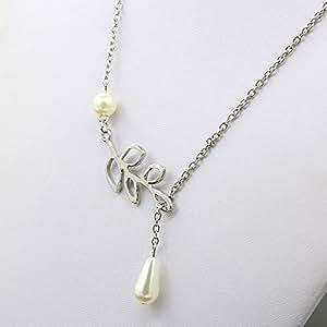 ネックレス かわいい 真珠 リーフ 鎖骨 60cm ロングタイプ ペンダント 男女兼用 ユニセックス