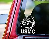 """USMCブルドッグヘッドChestyビニールデカールステッカー5"""" x 4.5"""" United States Marine Corpsマスコット ホワイト MT3000556-white"""