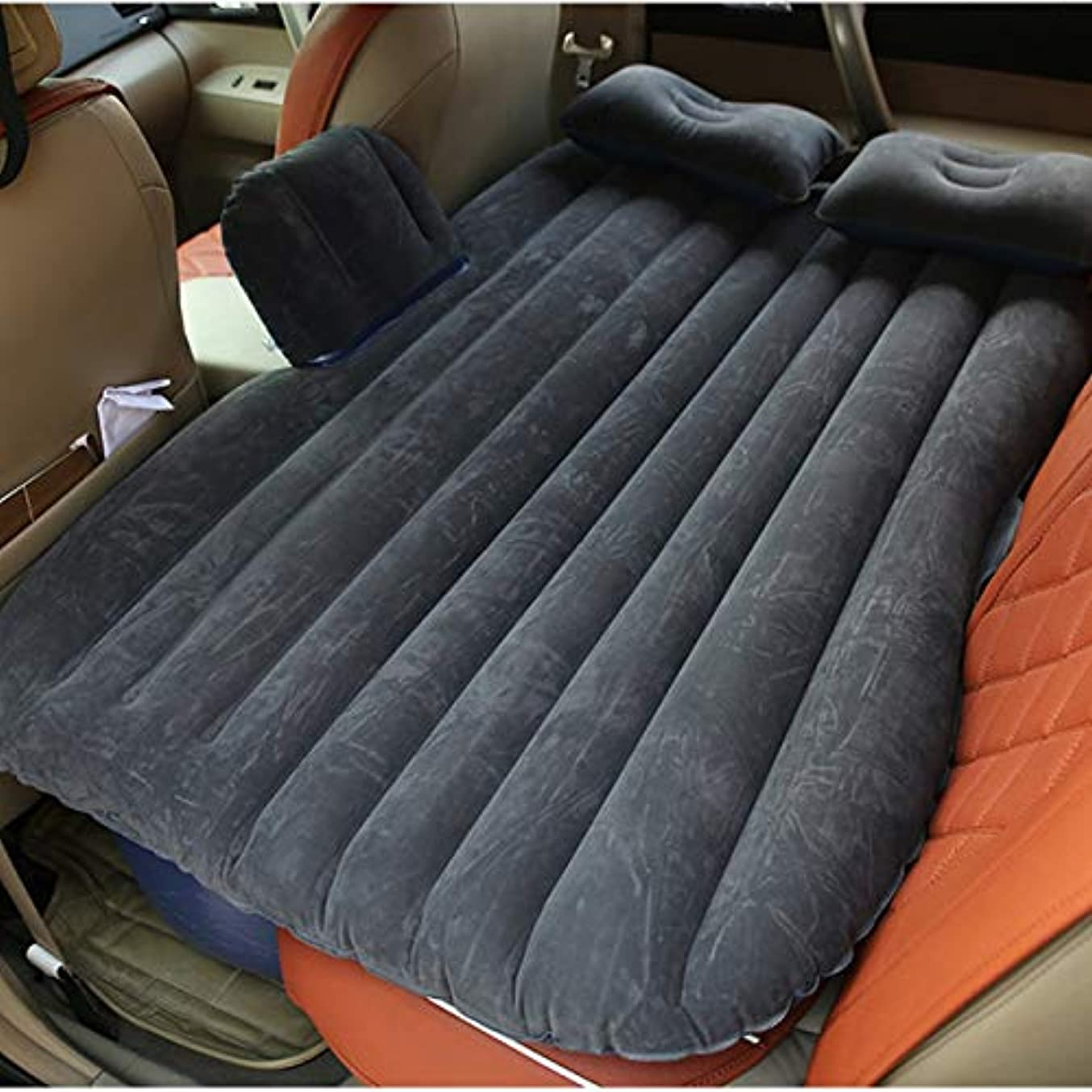 生きている恨み並外れてSaikogoods 車内用大型耐久性に優れたカーバックシートカバーカーエアマットレス旅行ベッド防湿インフレータブルマットレスエアーベッド 黒