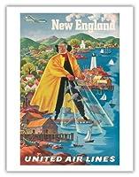 ニューイングランド地方 - ユナイテッドエアラインズ - ビンテージな航空会社のポスター によって作成された ジョセフ・フェーヘル c.1940 - アートポスター - 51cm x 66cm