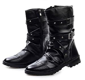 Sufoen 9cm アップ シークレットシューズ メンズ シークレットブーツ 履くだけで背が高くなる靴 メンズブーツ カジュアル ワークブーツ メンズシューズ スタッズ (25.5CM, ブラック)