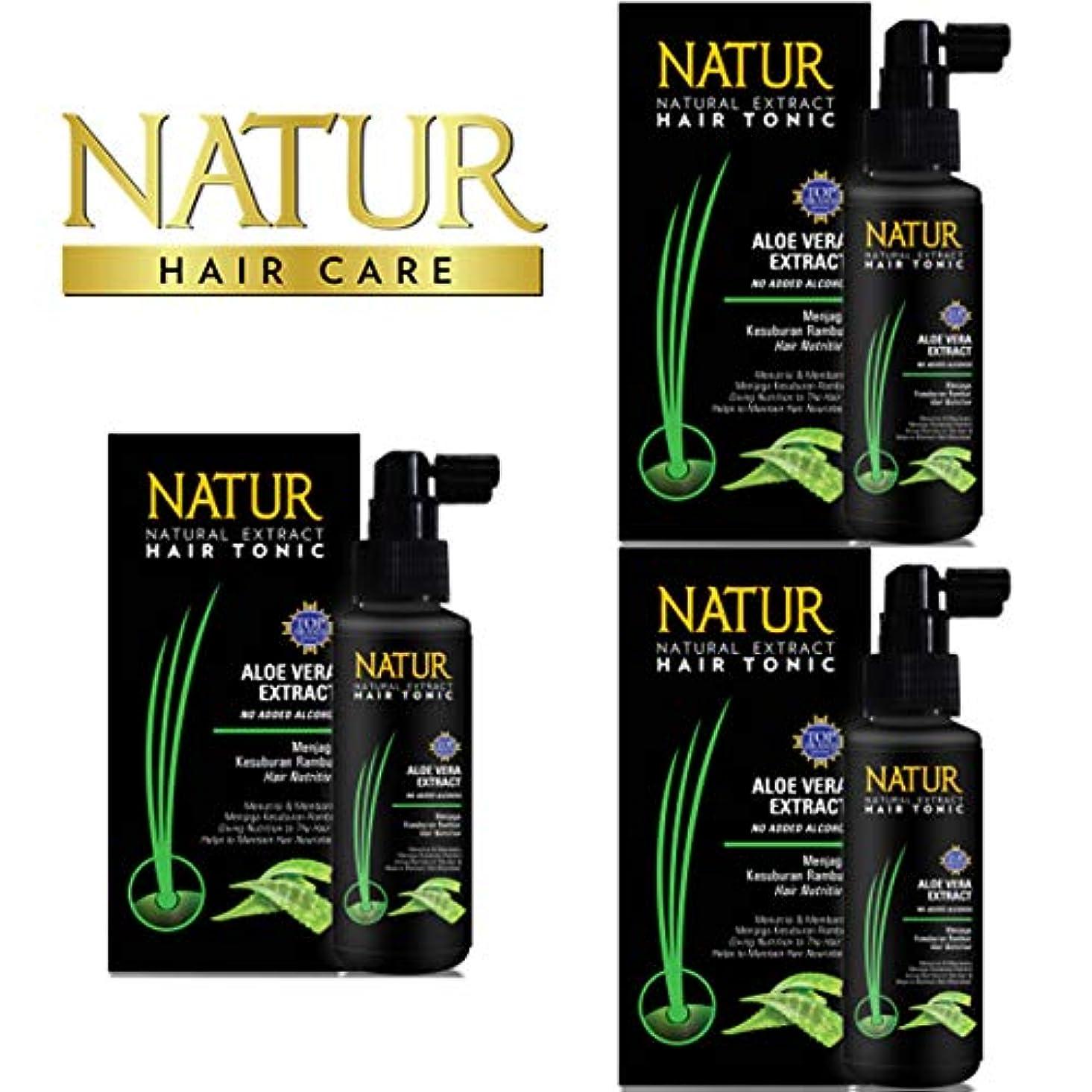 トレース歯支給NATUR ナトゥール 天然植物エキス配合 Hair Tonic ハーバルヘアトニック 90ml×3個セット Aloe vera アロエベラ [海外直商品]