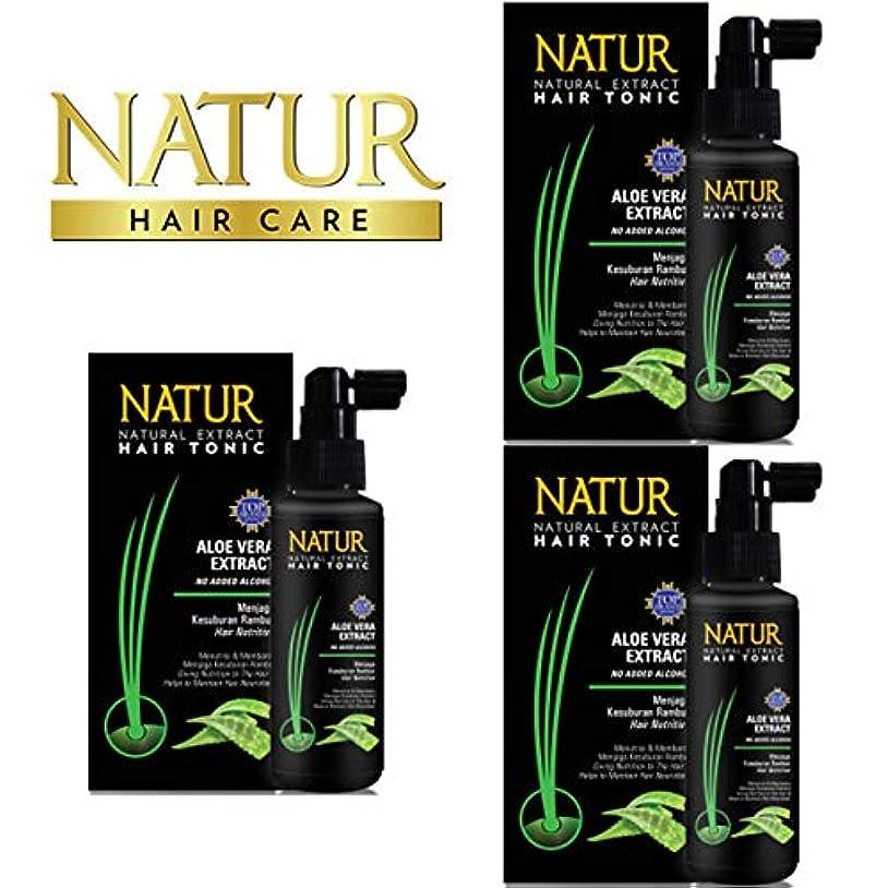 乏しいベーシックマイナーNATUR ナトゥール 天然植物エキス配合 Hair Tonic ハーバルヘアトニック 90ml×3個セット Aloe vera アロエベラ [海外直商品]