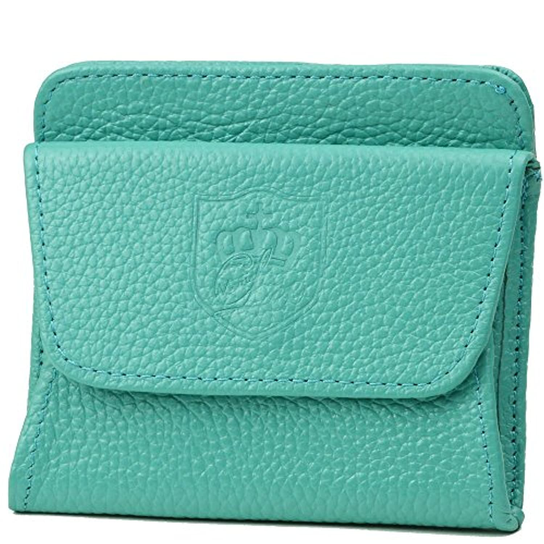 【アウトレット品】 10カラー オリジナル 本革 4ポケット付き 軽量(約48g) ボックス型小銭入れ 箱付 (ミントグリーン)
