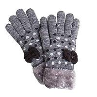 [アリサナ]arisana 手袋 キッズ ニット グローブ 女の子 ジュニア 裏起毛 ドット リボン C.グレー