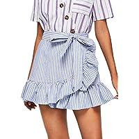 SheIn Women's Cute Ruffle Hem High Waist Bow Knot Plaid Mini Skirt