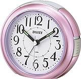 リズム時計 目覚まし 時計 アナログ RA21DN 小型 クロック 連続秒針 ピンク DAILY ( デイリー ) 8REA21DN13