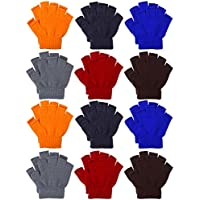 Coobey 12 Pairs Unisex Kids Half Finger Mittens Teen Winter Warm Fingerless Stretchy Knit Gloves