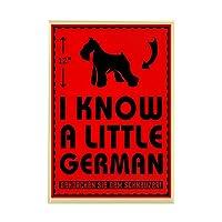"""CafePress–I KNOW A Littleドイツ語。Schnauzerマグネット–長方形マグネット、2"""" x3""""冷蔵庫マグネット"""