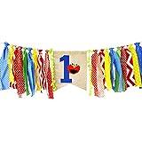 Ecore 楽しい 初めての誕生日パーティー 装飾用品 黄麻布 ハイチェアバナー バナー 男の子の赤ちゃん用 - エルモテーマ