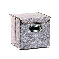 蓋とハンドルに簡単な家庭用ストレージボックス、ワードローブカーオフィスに適した生地折りたたみブック服ストレージ主催 (Color : Gray, Size : 25 × 25 × 25cm)