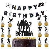 Awyjcas ビデオゲームパーティー記念品 誕生日バナーとカップケーキトッパー パーティー用品 男の子の赤ちゃん誕生日ケーキトッパー フロスダンス ボスパーティーデコレーション