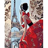DIY Painting by Numbers Kits for Adults Women with Eiffel Tower Modern Paintings (With Framed, Red Dress Woman)