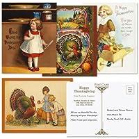 """カラフルなイメージはがきPersonalized感謝祭(4デザイン)–24のセット5–1/ 4"""" x 4""""ポストカード"""