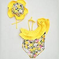 即納(韓国スタイル子供服) 水着 キッズ ビキニ 子供 女の子 可愛いSandy beachワンピースビキニ 可愛い大きフリル花柄 2タイプ 帽子付き二点セットアップ90-130cm yellow-B,120