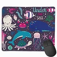マウスパッド タコ イカ 海 グレー ゲーミング オフィス最適 おしゃれ 疲労低減 滑り止めゴム底 耐久性が良い 防水 かわいい PC MacBook Pro/DELL/HP/SAMSUNGなどに 光学式対応 高級感プレゼント YAMAYAGO