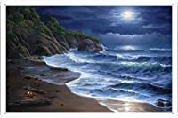 沿岸波浪月火アート46083のティンサイン 金属看板 ポスター / Tin Sign Metal Poster of Coast Sea Waves Moon Fire Art 46083