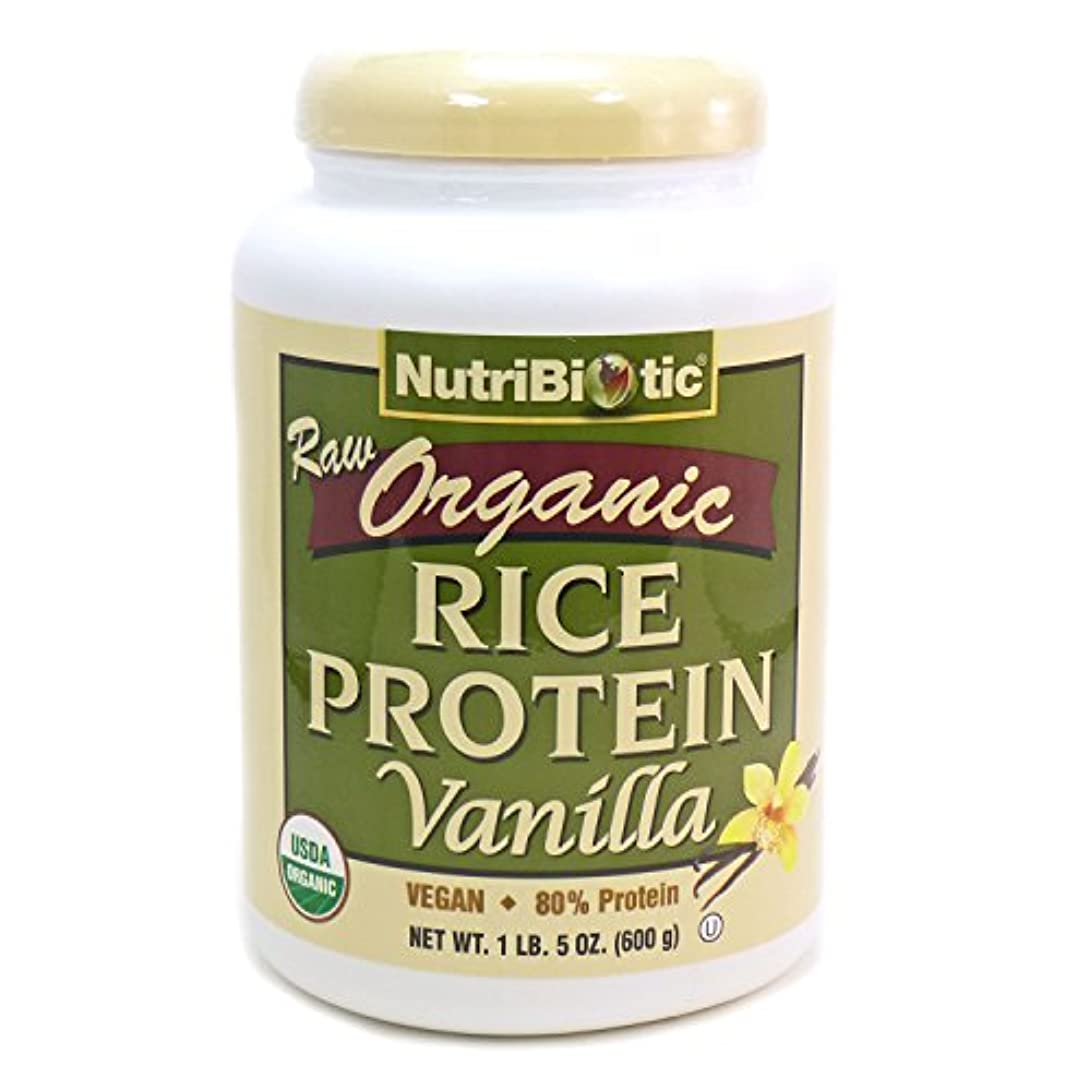 時代遅れ非難家具NutriBiotic, Raw Organic Rice Protein, Vanilla, 1 lb 5 oz (600 g)