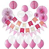 誕生日 ハニカムボールと風船, 飾り付け 装飾セット パーティー飾り物ガーランド HAPPY BIRTHDAYデコレーション - ディープピンク、ピンクとホワイト, CMUZI-JR1 (ピンク)