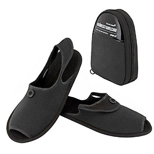 PETTCOCO 二つ折携帯用スリッパ 男性用・女性用Lサイズ 学校用・旅行用 紳士用 携帯ポーチ付属 靴収納袋付き (L, ブラック)
